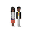 african staff couple in business suits vector image