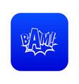 bam comic book bubble icon digital blue vector image vector image