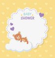 bashower lace card with little bear teddy in vector image vector image
