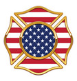 blank fire department logo base with usa flag vector image vector image