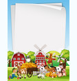 blank paper template with animal farm set theme vector image vector image