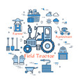 blue round field tractor concept vector image vector image