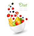 Bowl of healthy fruit Concept of diet vector image