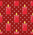 cartoon candle with funny face and snowflakes vector image vector image