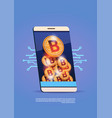 cell smart phone with bitcoins stack digital web vector image vector image