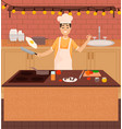 chef cooking meal for clients man frying eggs vector image