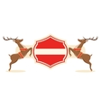 Christmas Label Icon with Santa Reindeers and vector image