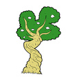 comic cartoon twisted old tree vector image vector image
