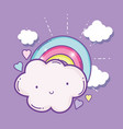 cute fluffy cloud with rainbow and hearts vector image vector image