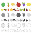 different fruits cartoon icons in set collection vector image
