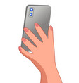 female hand holing gray smartphone back view vector image