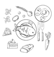 Fresh dinner food with sketch icons vector image