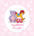 Greeting card with girls congrats vector image