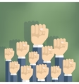 Group of fists raised in air vector image vector image