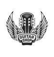 guitar shop guitar head with wings rock and roll vector image vector image