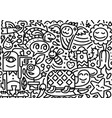 hand drawn doodle line postcard isolated on white vector image vector image