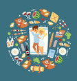 happy couple of young people on picnic trip vector image