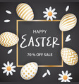 happy easter congratulatory poster with a gold vector image vector image