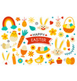 happy easter elements flat design easter set vector image