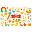 happy easter elements flat design easter set vector image vector image