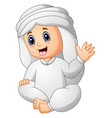 happy kid wearing arabic clothes waving hand vector image