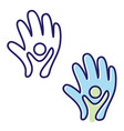 helping hand icon symbol with abstract hand and vector image vector image