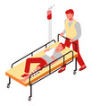 injury first aid bone fracture man on gurney vector image