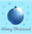 merry cristmas glass ball 3d with text vector image