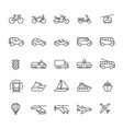 public passenger transport line icons cars and vector image vector image