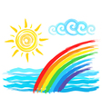 Rainbow and sun artistic brush drawing vector image