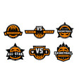 set basketball logos emblems labels vector image vector image