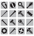 set of icons with bolts and screws vector image