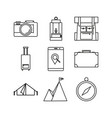 simple thin outline travel adventure icon symbol vector image