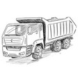 sketch drawing of dump truck vector image vector image