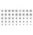 snowflake simple black line icons set vector image vector image