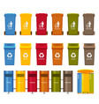 trash containers colorful icons set vector image vector image