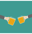 Two hands and clink beer glasses mug with foam cap vector image