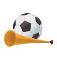 vuvuzela trumpet and soccer ball vector image