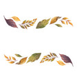 watercolor autumn banner with fallen leaves vector image vector image