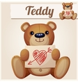 Teddy bear with Valentines day greeting card vector image