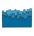 blue city scene with building image vector image