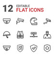 12 guard icons vector image vector image