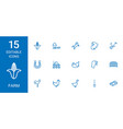 15 farm icons vector image vector image