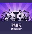 a silhouette amusement park template vector image