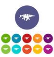 aquatic dinosaur icons set flat vector image vector image
