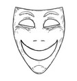 artistic drawing of happy smiling comedy mask vector image vector image
