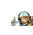 astronaut woman pointing finger up isolate on vector image vector image