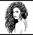beautiful girl portrait curly pretty woman vector image