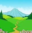 Beautiful green landscape cartoon background vector image vector image