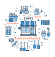 blue round farmers market concept vector image vector image